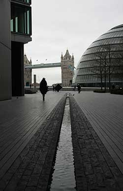 London's City Hall with Tower Bridge behind