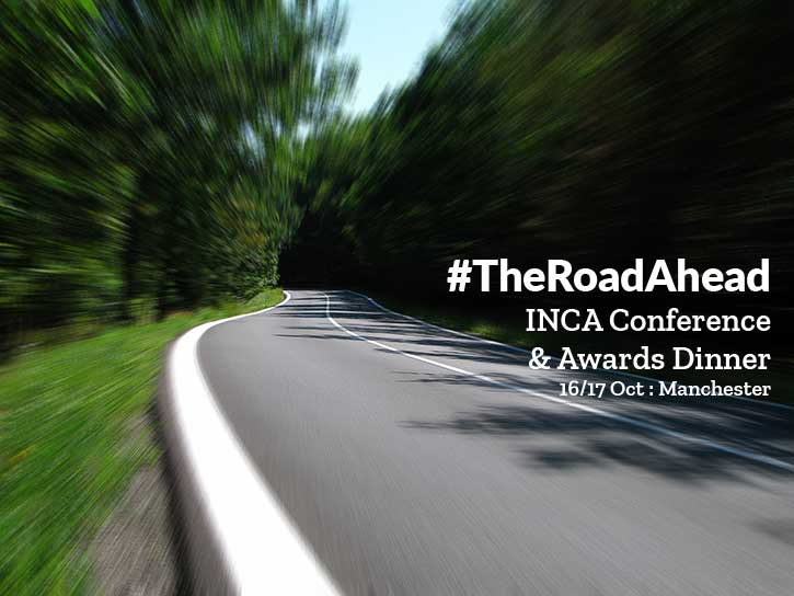 The Road Ahead: INCA's 2019 Conference and Awards Dinner: photo speeding along winding country road