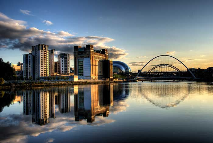 Newcastle quayside with bridges