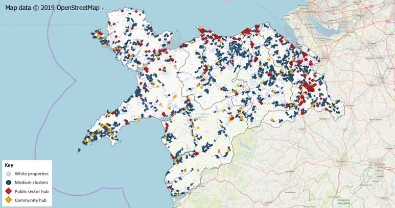 image of a map showing clusters and hub locations in North Wales