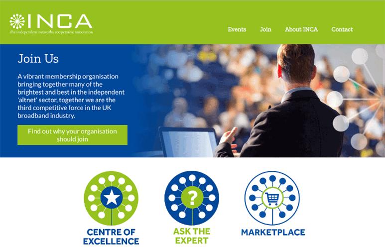 INCA website screenshot